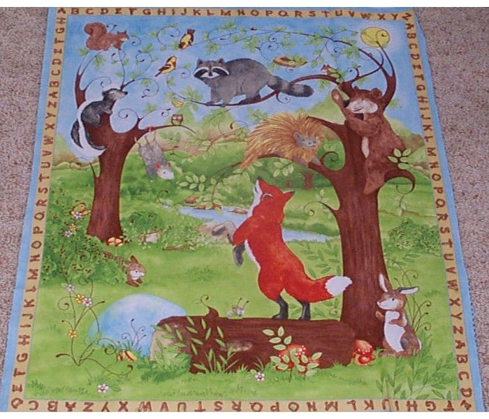 Details About Hide Amp Seek Woodland Animals Quilt Top Panel