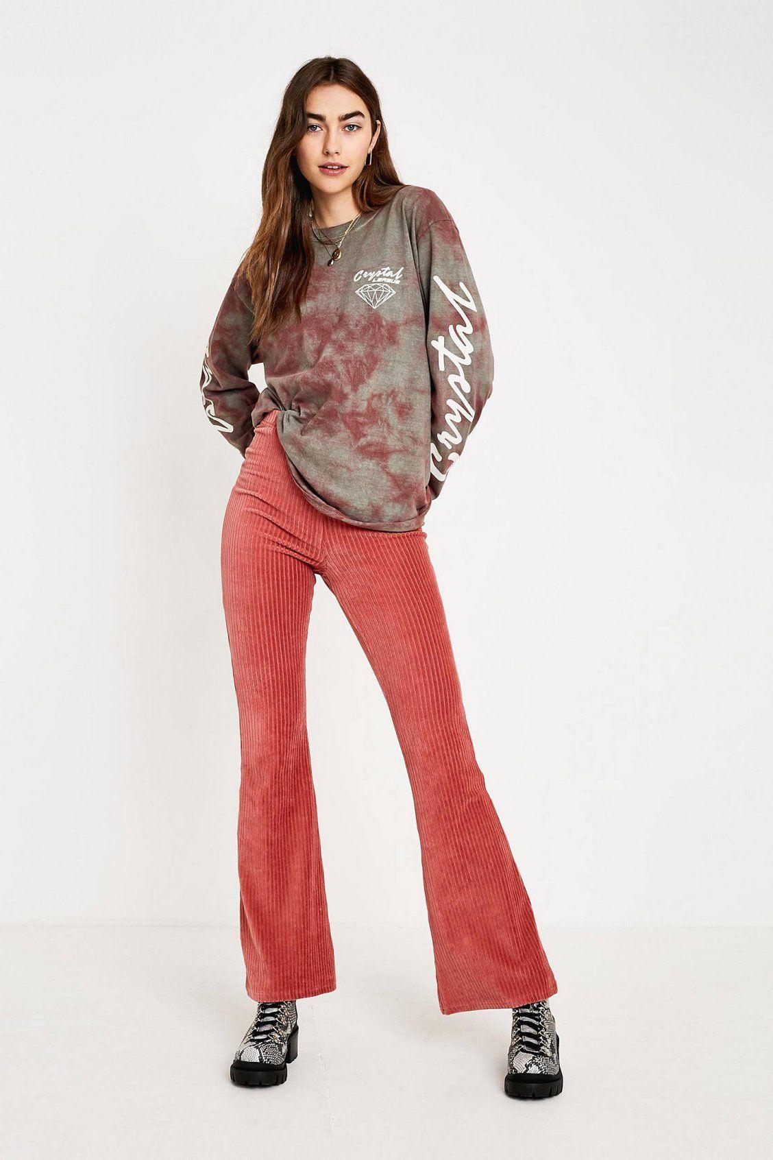 2f6b504ee6 UO Pink Velvet Flare Pant | New Arrivals | Velvet flare pants, Pants ...