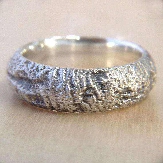 Very unique Redwood Tree Bark design on a mens wedding band in