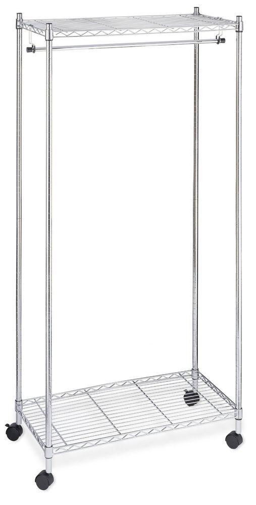 mobile garment clothes rack chrome portable closet storage wardrobe organizer - Portable Clothes Rack