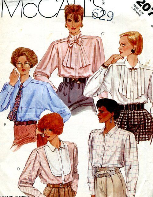 McCall\'s Blouse Collar Variations Office Chic | 80s - businesswoman ...