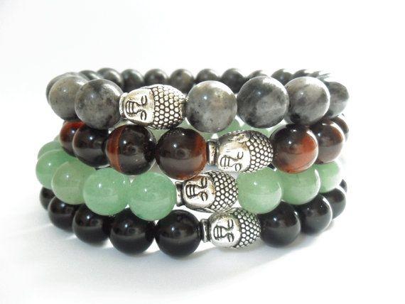 Mens Beaded Bracelet with Buddha Head Beaded with Black Labradorite, Tiger Eye, Black Agate or Aventurine Gemstone Beads