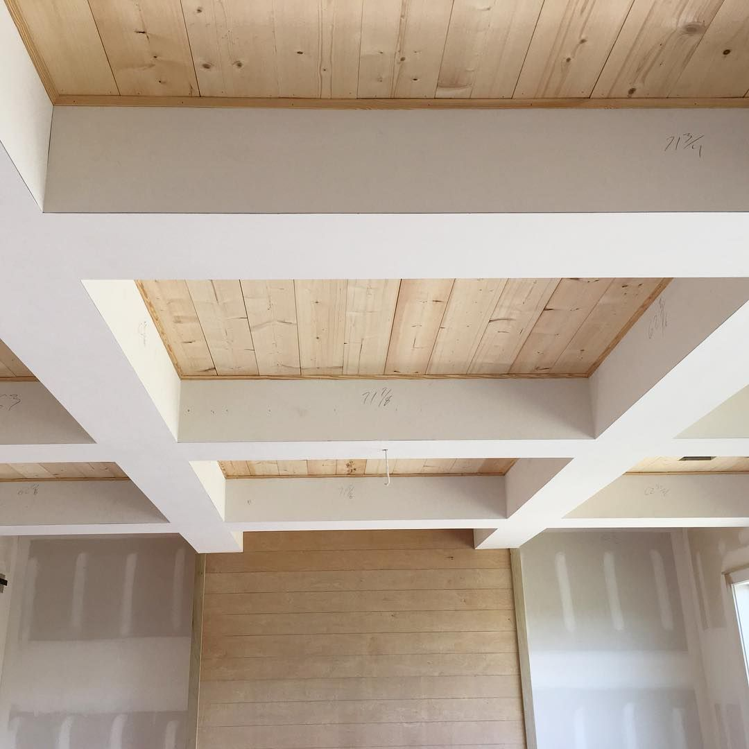 check out the wood in our coffered ceiling!! simple pine boards