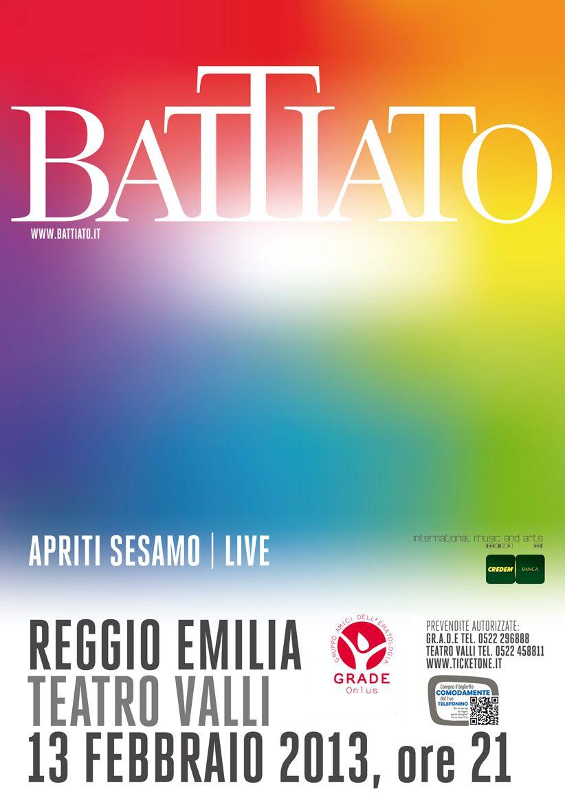 Franco Battiato @ Teatro Valli 13/02/2013: incasso netto 31.000 € devoluto a GRADE Onlus.