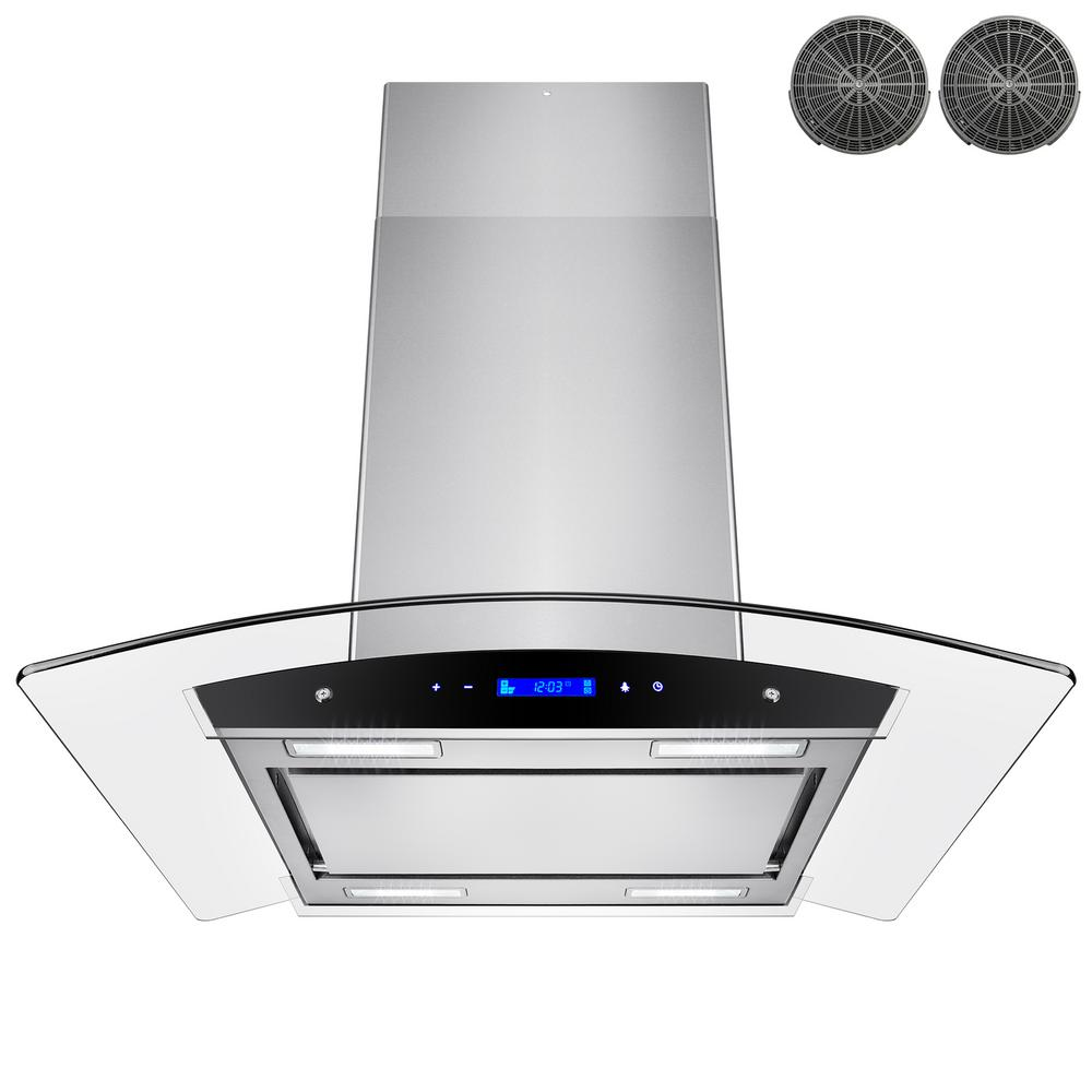 Akdy 30 In Convertible Kitchen Island Mount Range Hood In Stainless Steel With Tempered Glass Touch Control Carbon Filter Rh0257 The Home Depot Range Hood Kitchen Range Hood Best Range Hoods