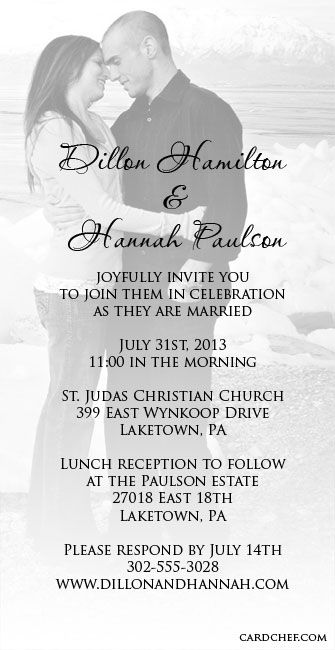 Wedding Invitation Templates Printable | Simple 4×8 wedding ...