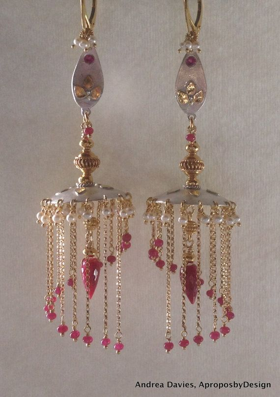 Ruby Jhumka Earrings Handmade 22k Gold And Silver Chandelier Luxury Jewelry Indian Vidhya S Chandeliers On 198 00