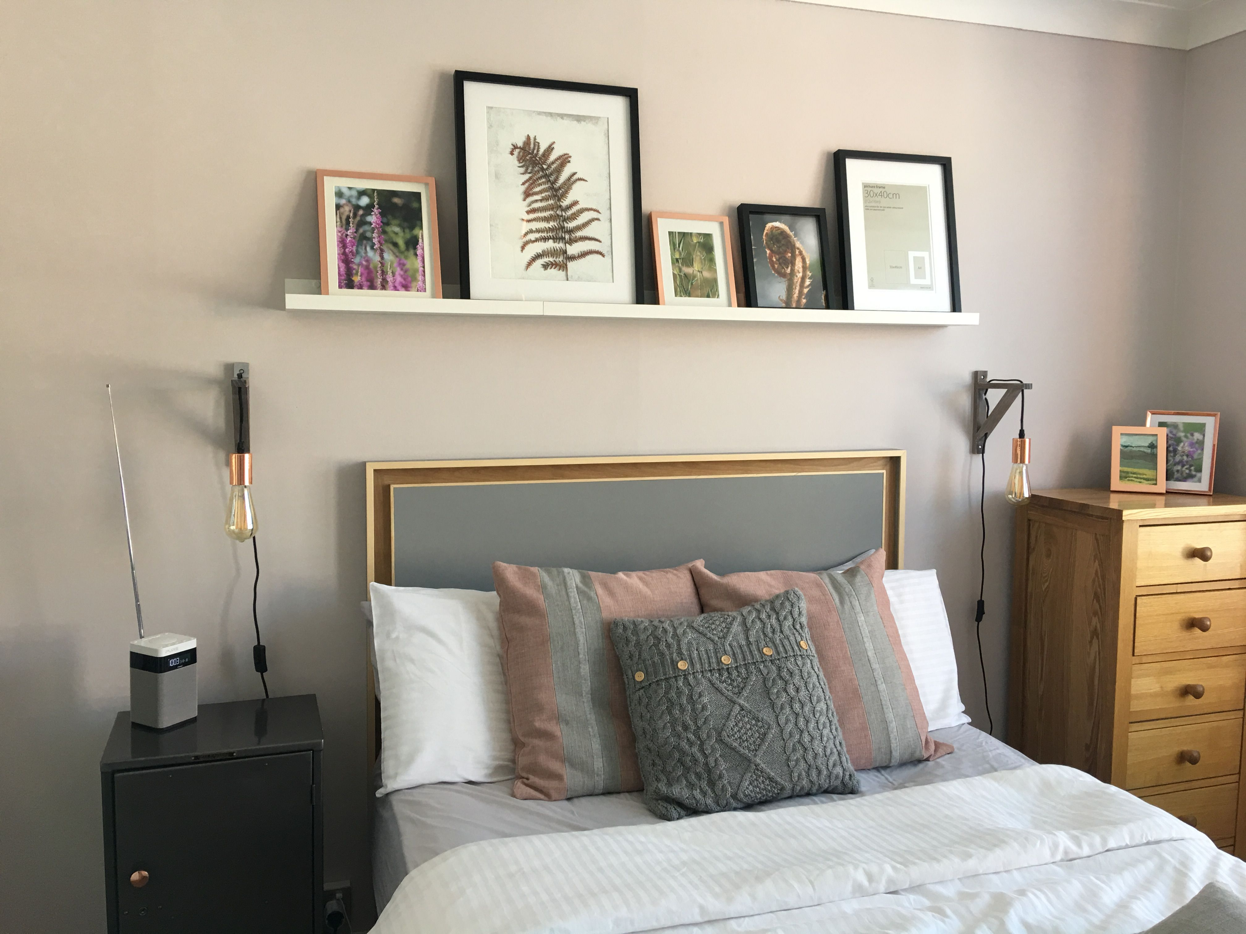 Grey, pink, copper and white bedroom theme. Handmade ...