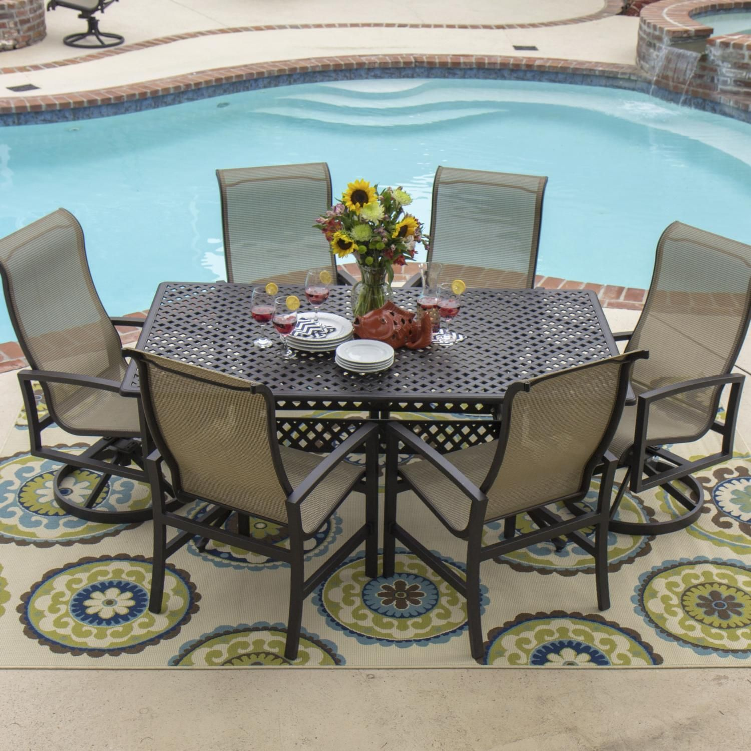 Acadia 7 Piece Sling Patio Dining Set With 2 Swivel Rockers And