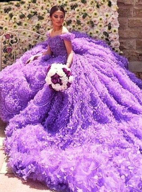 Real Gorgeous Purple Ball Gown Off The Shoulder Long Train Wedding ...