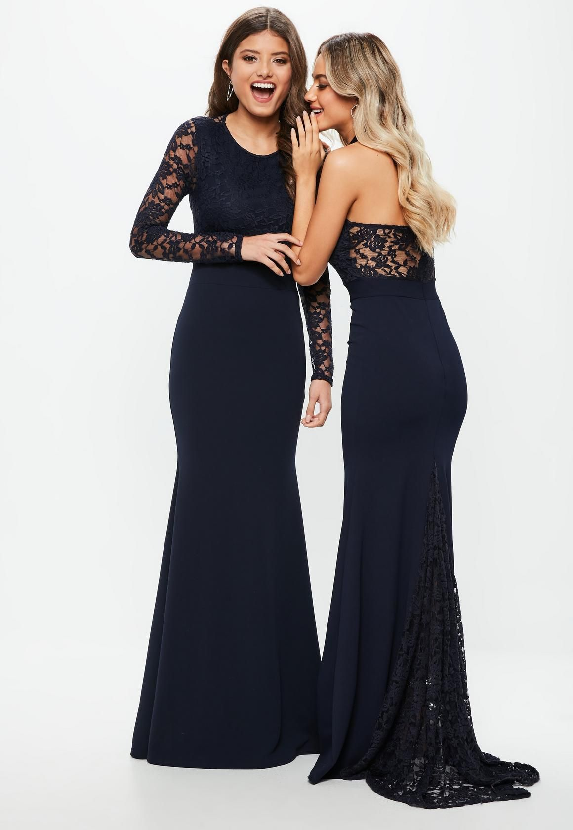 527a9b99c71 Missguided - Bridesmaid Navy Round Neck Lace Insert Fishtail Maxi Dress