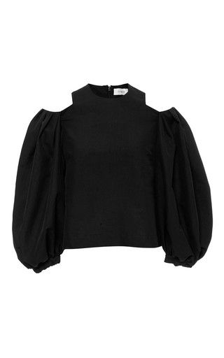 Balloon sleeve cropped top by ISA ARFEN Available Now on Moda Operandi