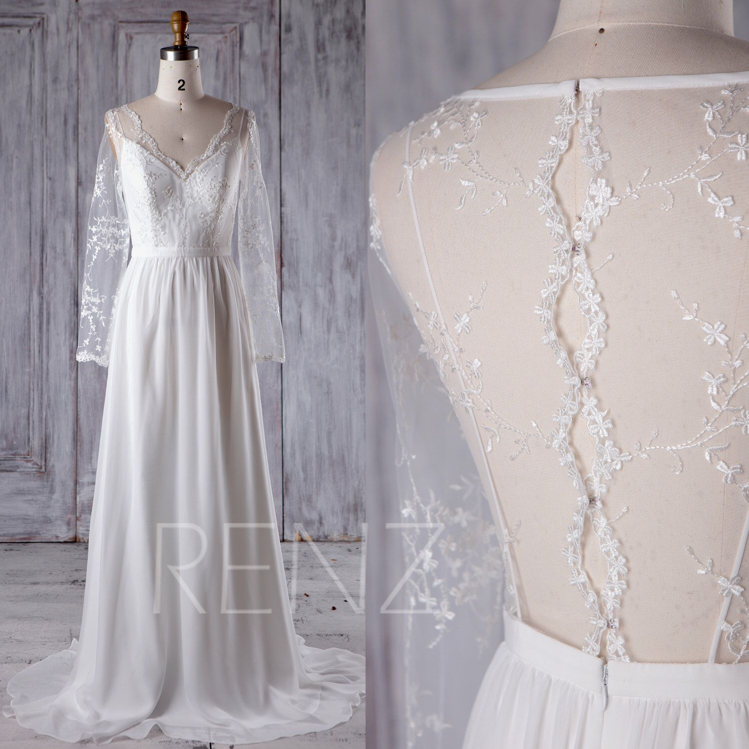 off white chiffon lace bridesmaid dress with long sleeves v