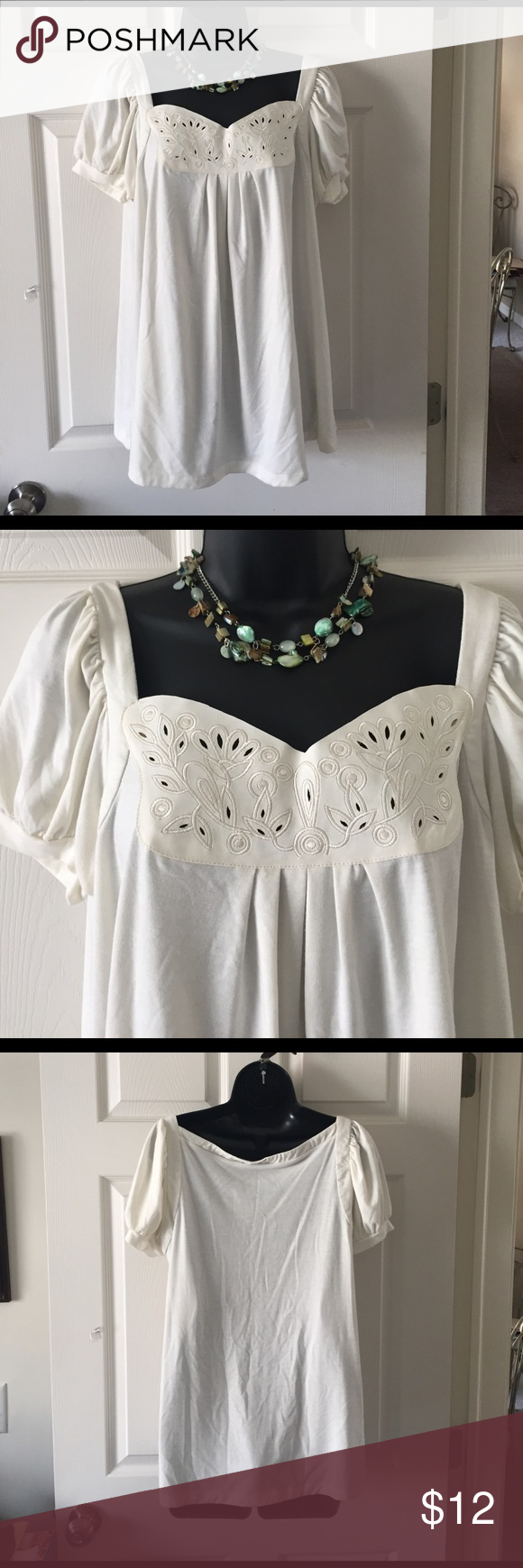 I. N. Studio*!top Ivory with front cut out pleather design. I. N. studio Tops