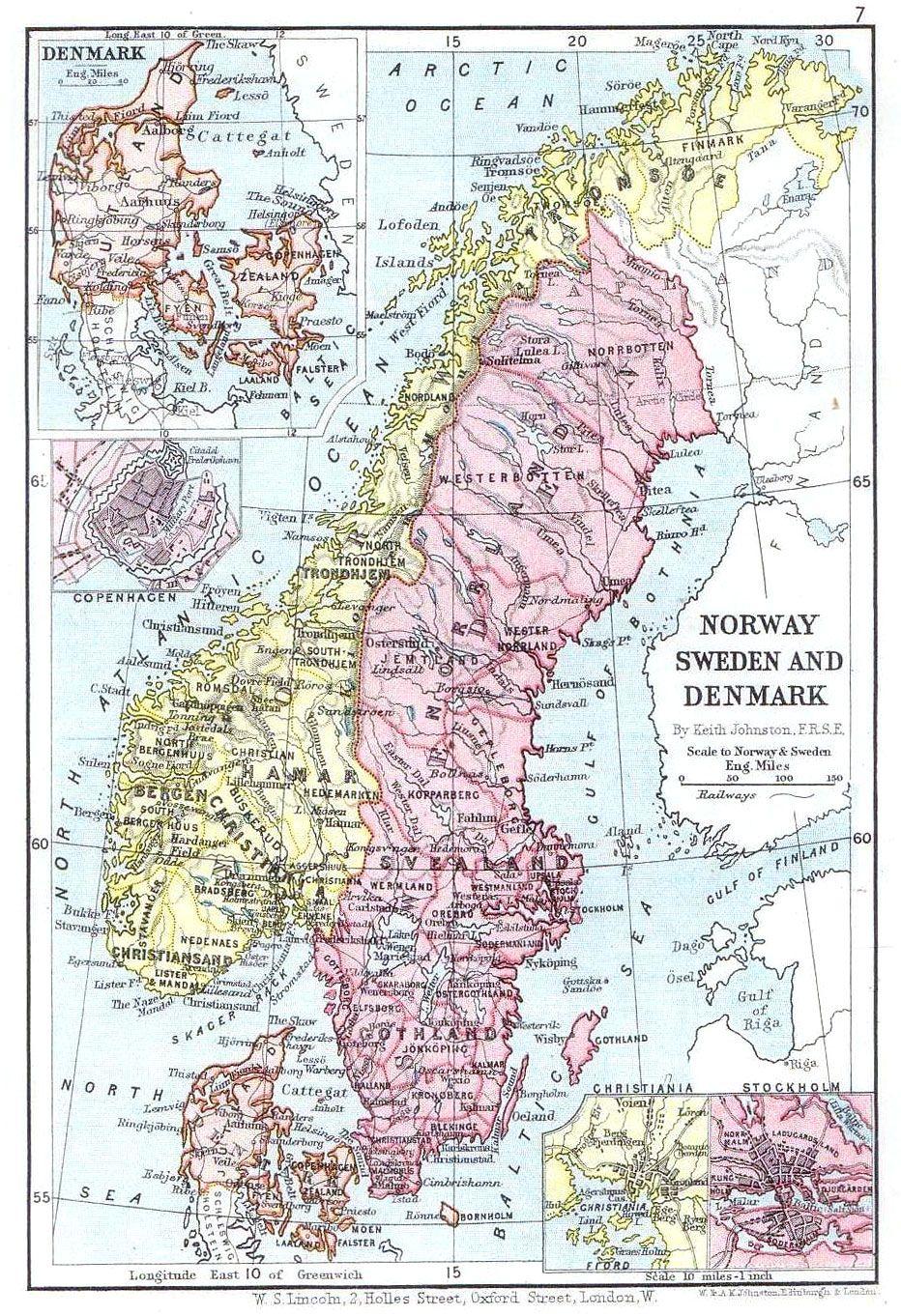 Mapa De Dinamarca De 1899 Lincoln Map Karta Sverige