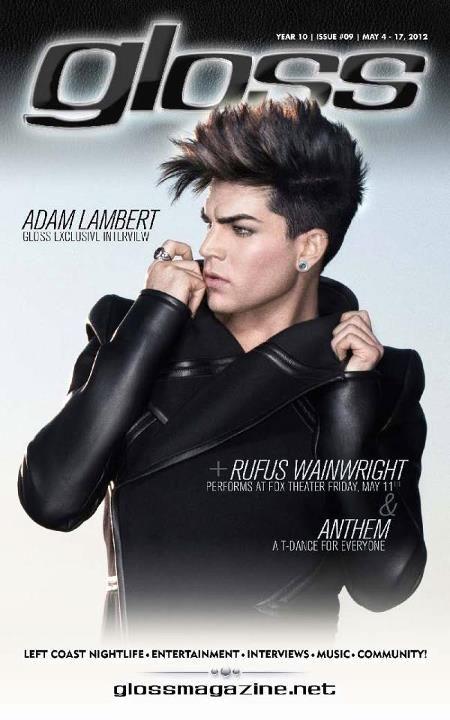 (May 2012, USA) Adam Lambert on the cover of 'Gloss'