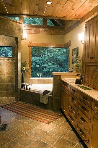 The Master Bath Layout I Really Like The Cabiny Rustic Look Master Bath Layout Dream Bathrooms Farmhouse Bathroom Decor