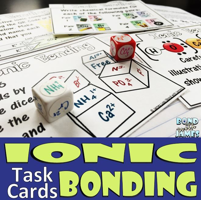 ionic bonding and ionic compound task cards worksheets chemistry and physical science. Black Bedroom Furniture Sets. Home Design Ideas