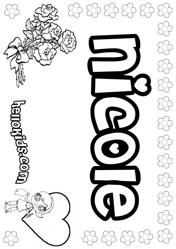 N names for girls coloring posters girls name coloring pages, nicole ...