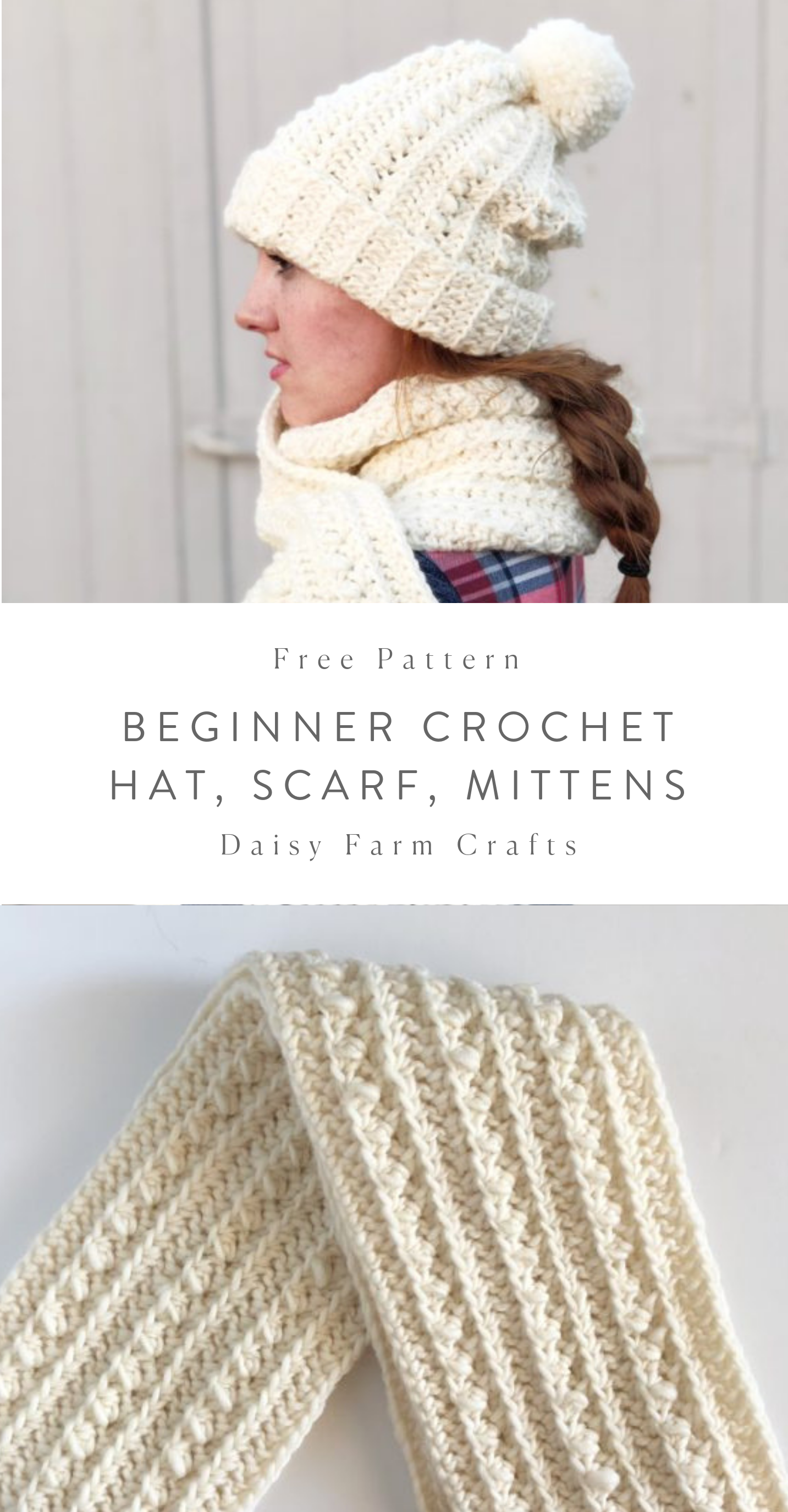 Free Patterns - Beginner Crochet Hat, Scarf and Mittens