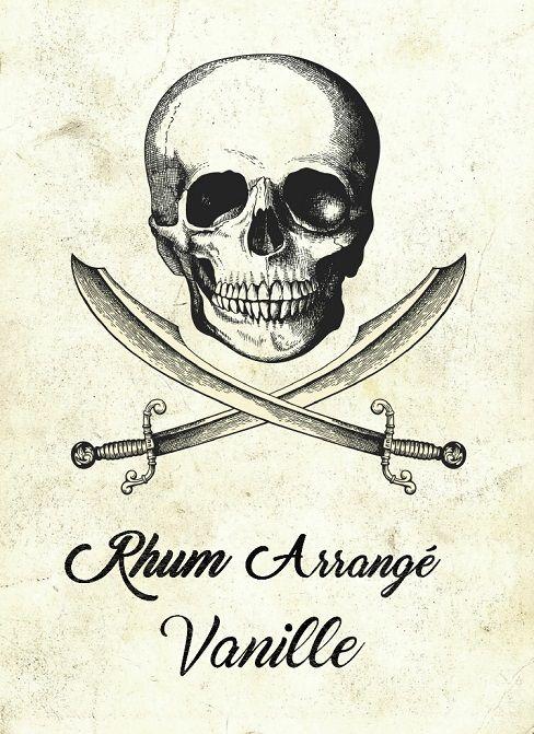 Tiquette rhum arrang vanille skull pirate rum halloween labels halloween bottles - Vanille dessin ...