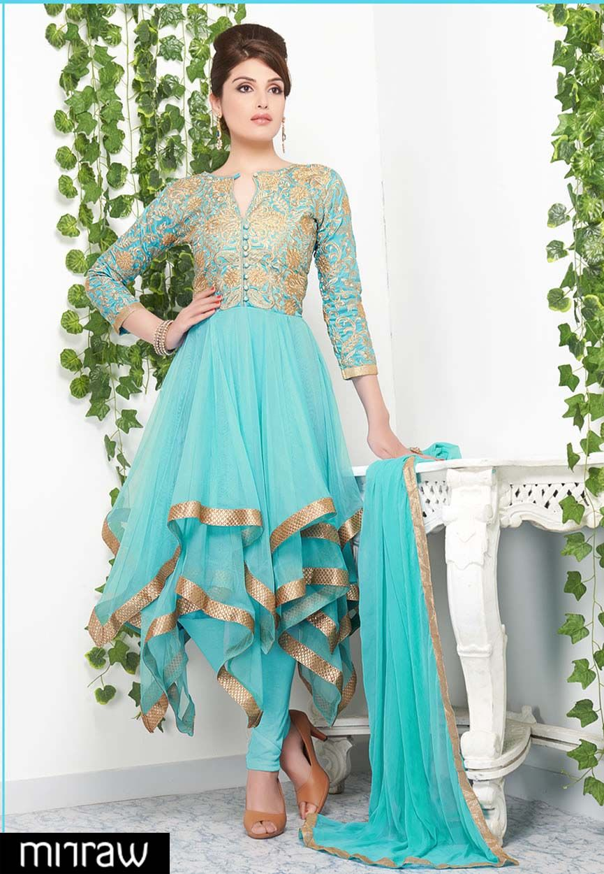 492fba054c3 Passion sky blue color gold lace and embroidered net designer ...