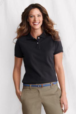 4b2c0e10 Women's Short Sleeve Ottoman Collar Mesh Polo Shirt from Lands' End ...