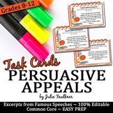 Persuasive Appeals in Famous Speeches Task Cards (Ethos Pathos Logos) #famousspeeches Persuasive Appeals in Famous Speeches Task Cards (Ethos Pa #famousspeeches