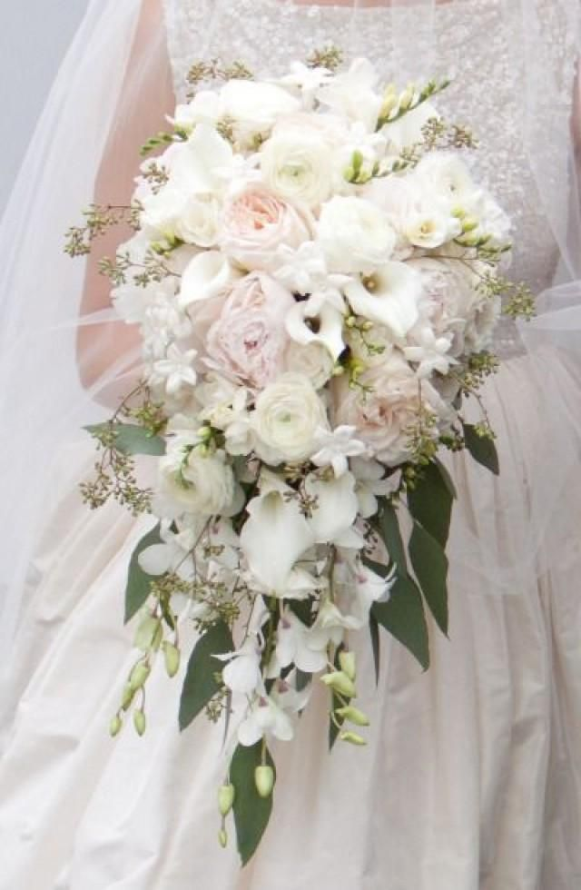 Pale Pink And White Cascade Flowers Pinterest Wedding Bouquets