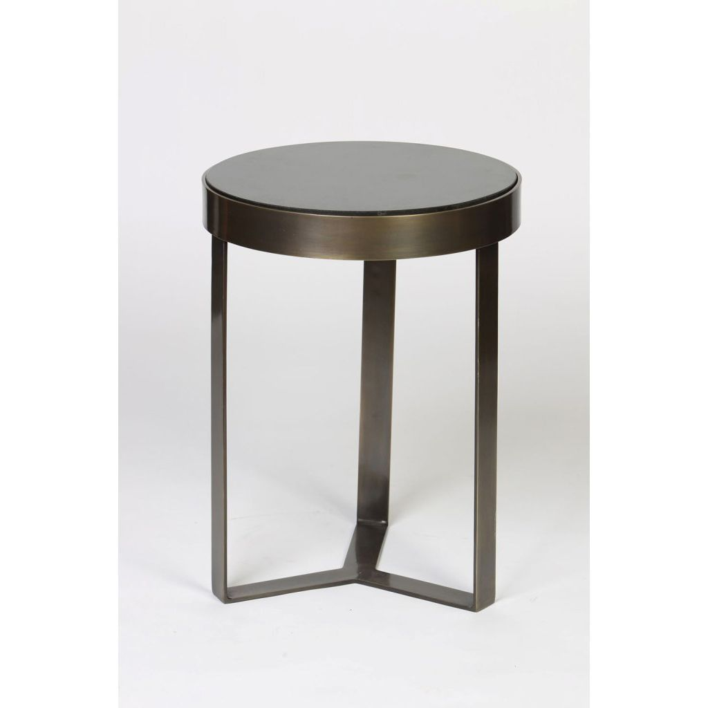 Contemporary Minimalist Metal And Stone Side Table Products