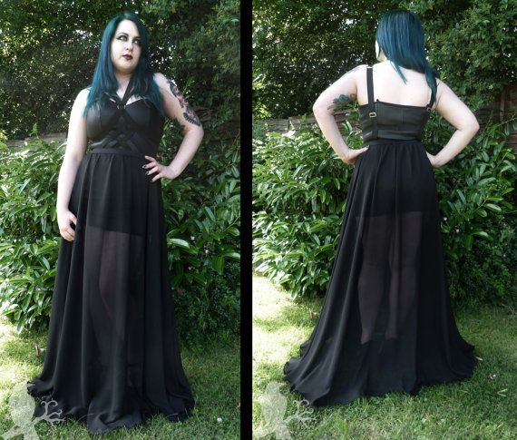 fc036997ac Nightshade - sheer gothic harness maxi dress over rubber look mini dress