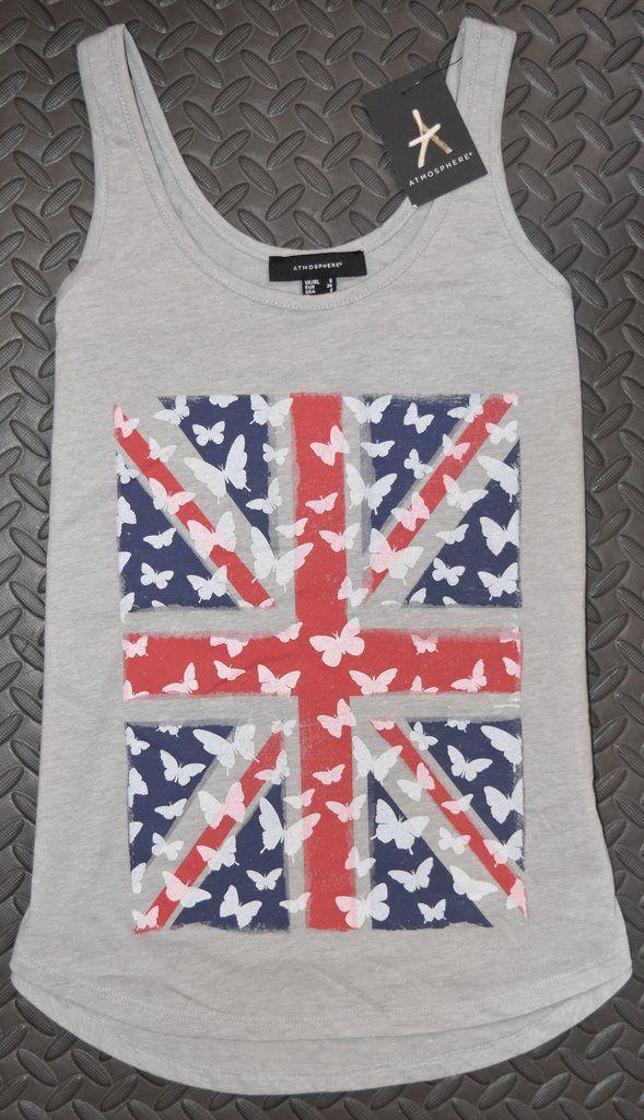 631de3ba11 UNION JACK VEST T Shirt Primark British Flag White Butterflys Womens Ladies  UK Sizes 4-20