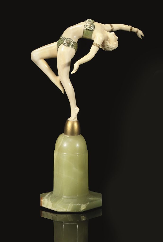 /'The Flame Leaper/' Art Deco Bronze Lady Onyx Cold Painted Ferdinand Preiss