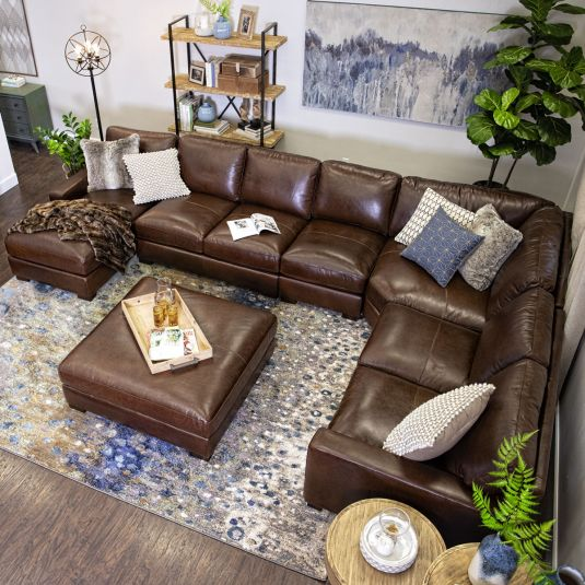 100 Top Grain Leather All Over Dream Like Plush Comfort Deep Seating Per In 2020 Brown Couch Living Room Leather Couches Living Room Leather Sectional Living Room