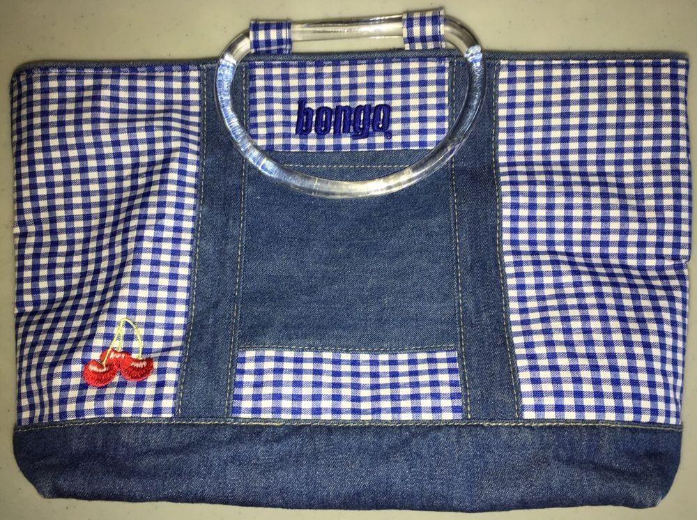 Bongo Purse Tote Handbag Blue White Gingham Denim Spring Summer Totespers