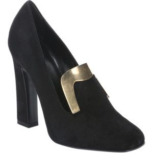 Gucci Black Suede Plate Detail Heeled Loafers (346628801)