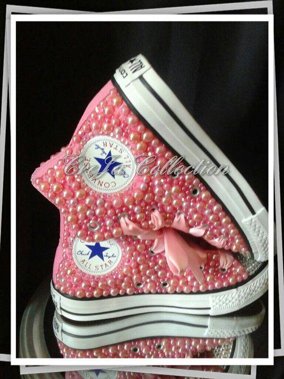 Pink Pearl Converse , Kids Converse,Kids Custom High Top
