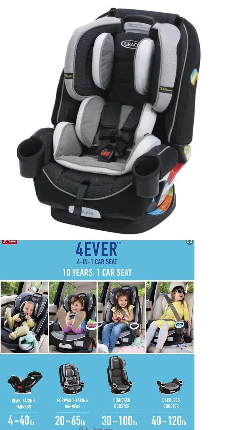 Convertible Car Seat 5 40lbs 66695 Graco 4Ever All In One