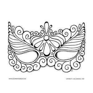 Halloween Coloring Pages Masquerade masks Coloured pencils and