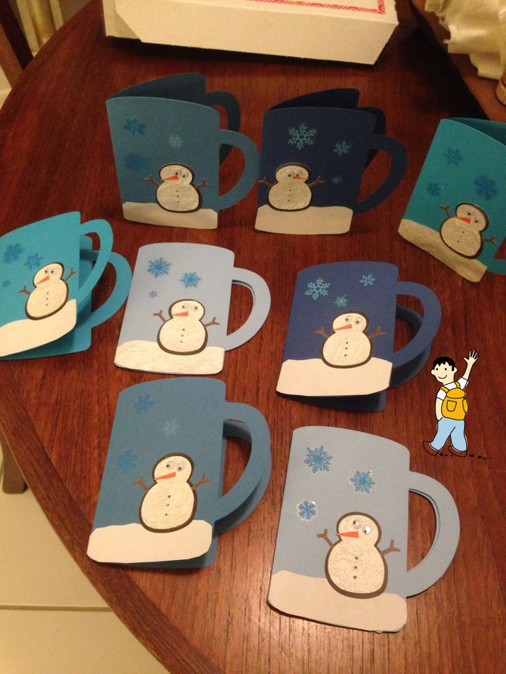 Postal de navidad para ni os mu eco de nieve y nieve de - Manualidades de navidad para ninos de preescolar ...