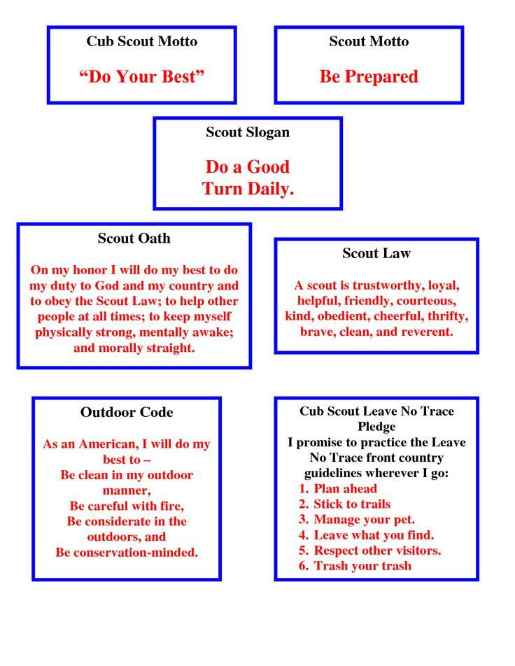 Cub Motto mottos, laws, etc. all on one page! Great for Webelos who need to know all of these:
