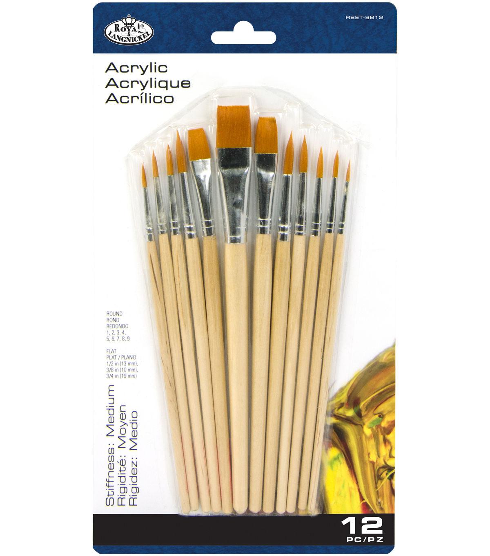 Size 12 Gold Taklon Multicolored Darice Round Paintbrush