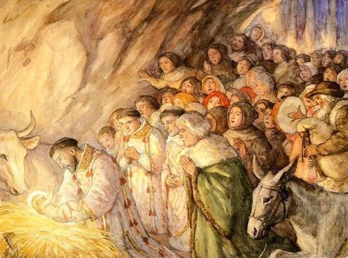 Resultado de imagen para san Francisco  y el niño jesus en navidad