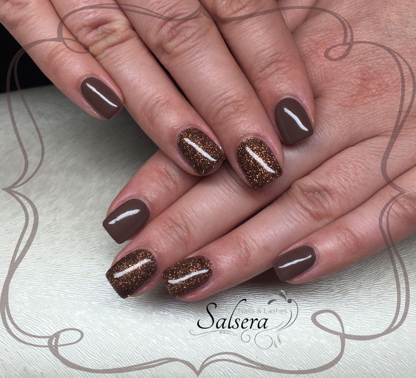 Nails, Fullcover, Nägel, braun, Brown, Glitter, shortnails, Salsera ...