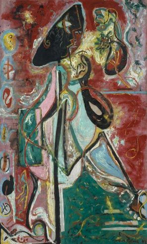 The Moon Woman, 1942. Jackson Pollock, (1912-1956). Oil on canvas, 69 x 43 1/16 inches. The Solomon R. Guggenheim Foundation,Peggy Guggenheim Collection, Venice.