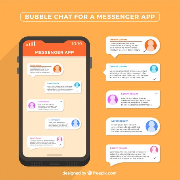 Bubble chat for messenger application in flat style Free