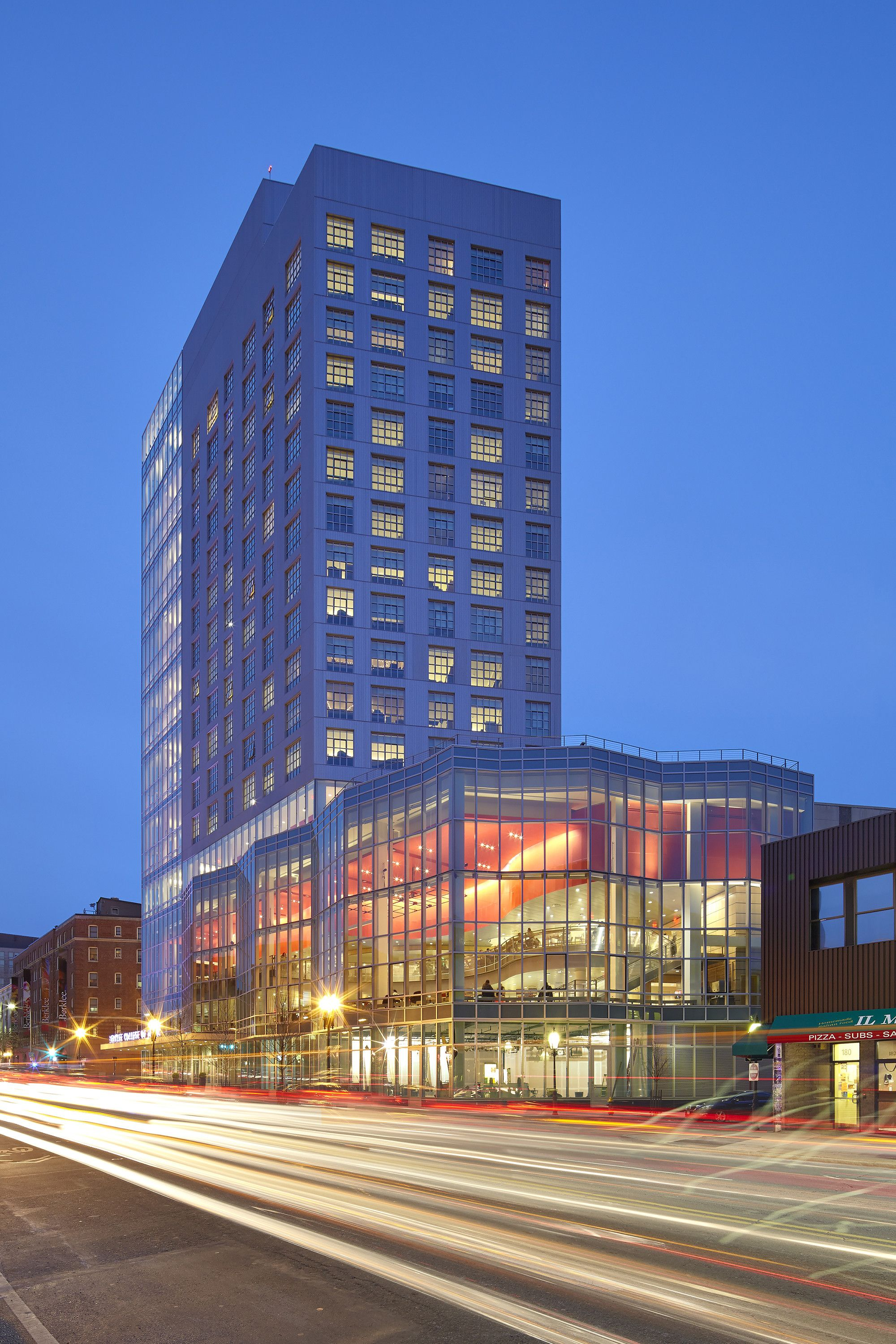 Built by William Rawn Associates in Boston, United States with date 2014. Images by Bruce T. Martin Photography. Fronting on Massachusetts Avenue, the new multi-use residence hall for Berklee College of Music strengthens the Colle...