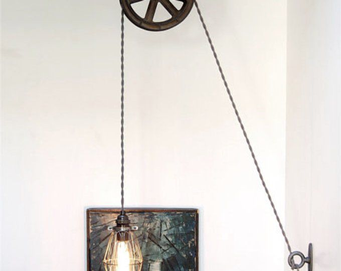 Diy Kit For Antique Cast Iron Wood Pulley Lamp Vintage