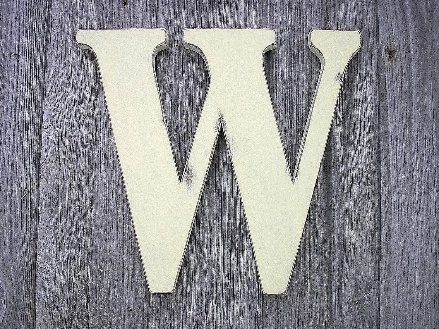 Rustic Shabby Chic Wedding Decor Guestbook Wooden Letter W 12 Inch Ivory Wall D Shabby Chic Wedding Rustic Shabby Chic Wedding Decor Rustic Shabby Chic Wedding