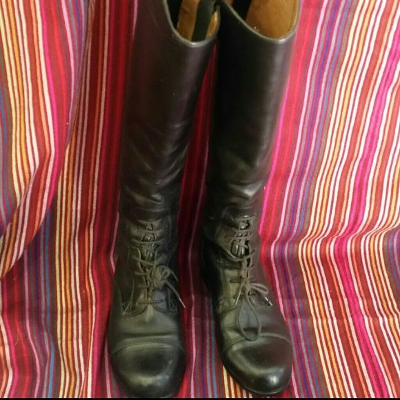 ARIAT TALL BOOT High Spanish Cut, Handcrafted Black European Calf Leather, Full Length Back Zipper System. Contour Fit.  16 1/2 High,  3 3/4 Opening, size 2 junior's,  size 4 ladies.. Ariat Shoes
